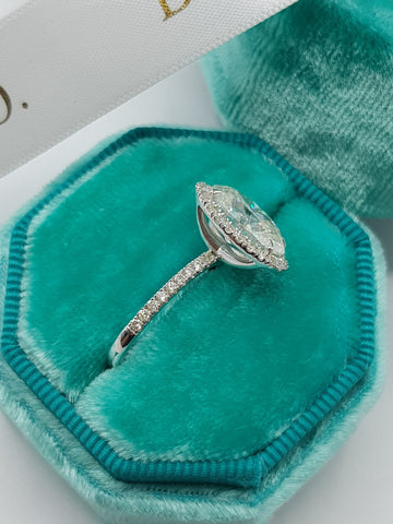 3.50 Carats Oval Cut Micropave Halo Side Stones Diamond Engagement Ring