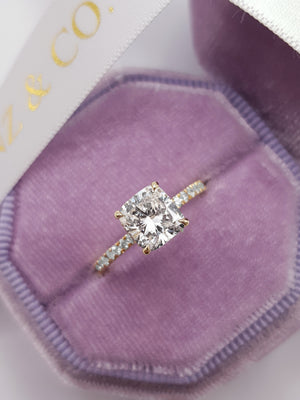 2.05 Carats Cushion Cut Micropave Side Stones Hidden Halo Diamond Engagement Ring