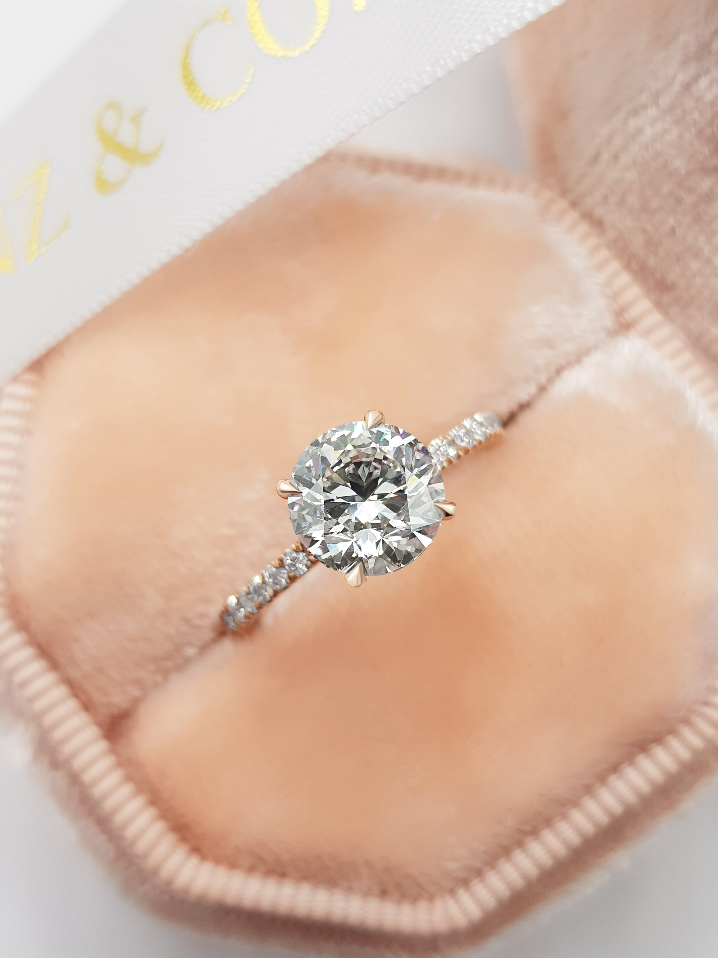 2 Carats Round Brilliant Cut Micropave Side Stones Hidden Halo Diamond Engagement Ring