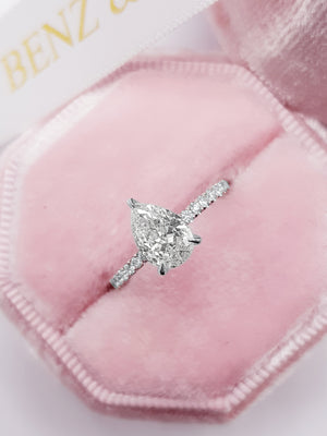 1.50 Carats Pear Shape Side Stones Hidden Halo Diamond Engagement Ring