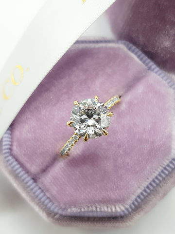 2.57 Carats Round Brilliant Cut Micropave Side Stones Hidden Halo Diamond Engagement Ring