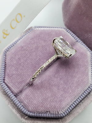 3.58 Carats Elongated Cushion Cut Micropave Side Stones Hidden Halo Diamond Engagement Ring