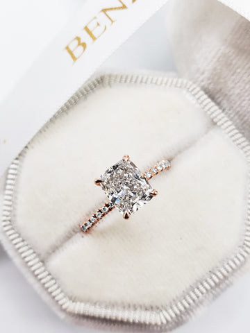 2.03 Carats Elongated Cushion Cut Micropave Side Stones Hidden Halo Diamond Engagement Ring