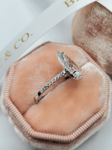 2.07 Carats Elongated Pear Shaped Halo Micropave Diamond Engagement Ring