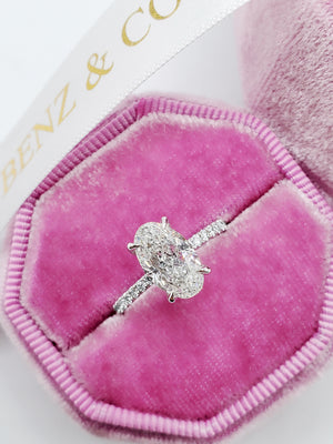 2.02 Carats Elongated Oval Cut Micropave Side Stones Hidden Halo Diamond Engagement Ring