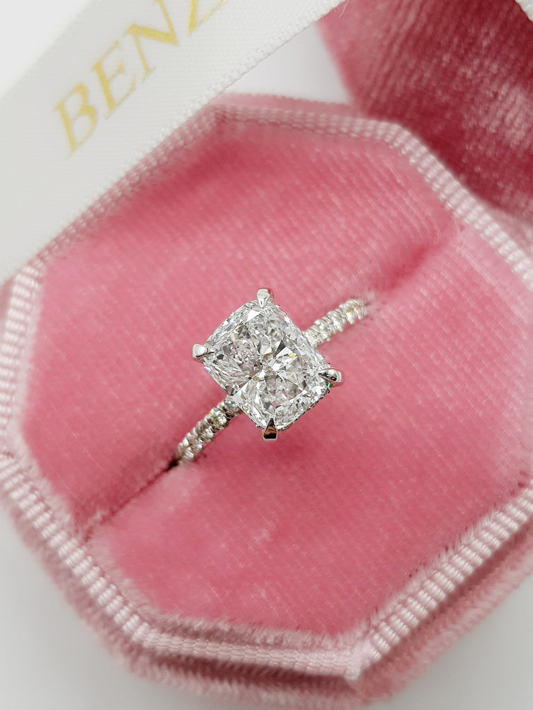 2.54 Carats Elongated Cushion Cut Micropave Side Stones Hidden Halo Diamond Engagement Ring
