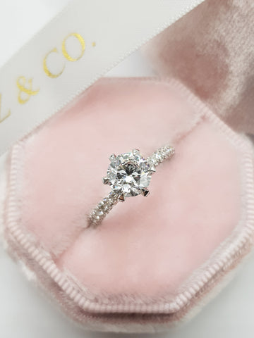 1.82 Carats Round Brilliant Cut Trio-Micropave Side Stones Diamond Engagement Ring