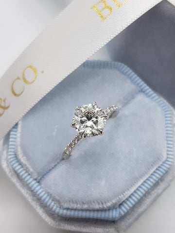 2.01 Carats Round Brilliant Cut Micropave Side Stones Hidden Halo Diamond Engagement Ring