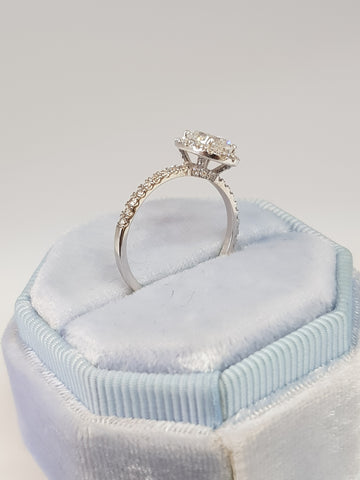 1.20 Carats Oval Cut Micropave Halo Diamond Engagement Ring