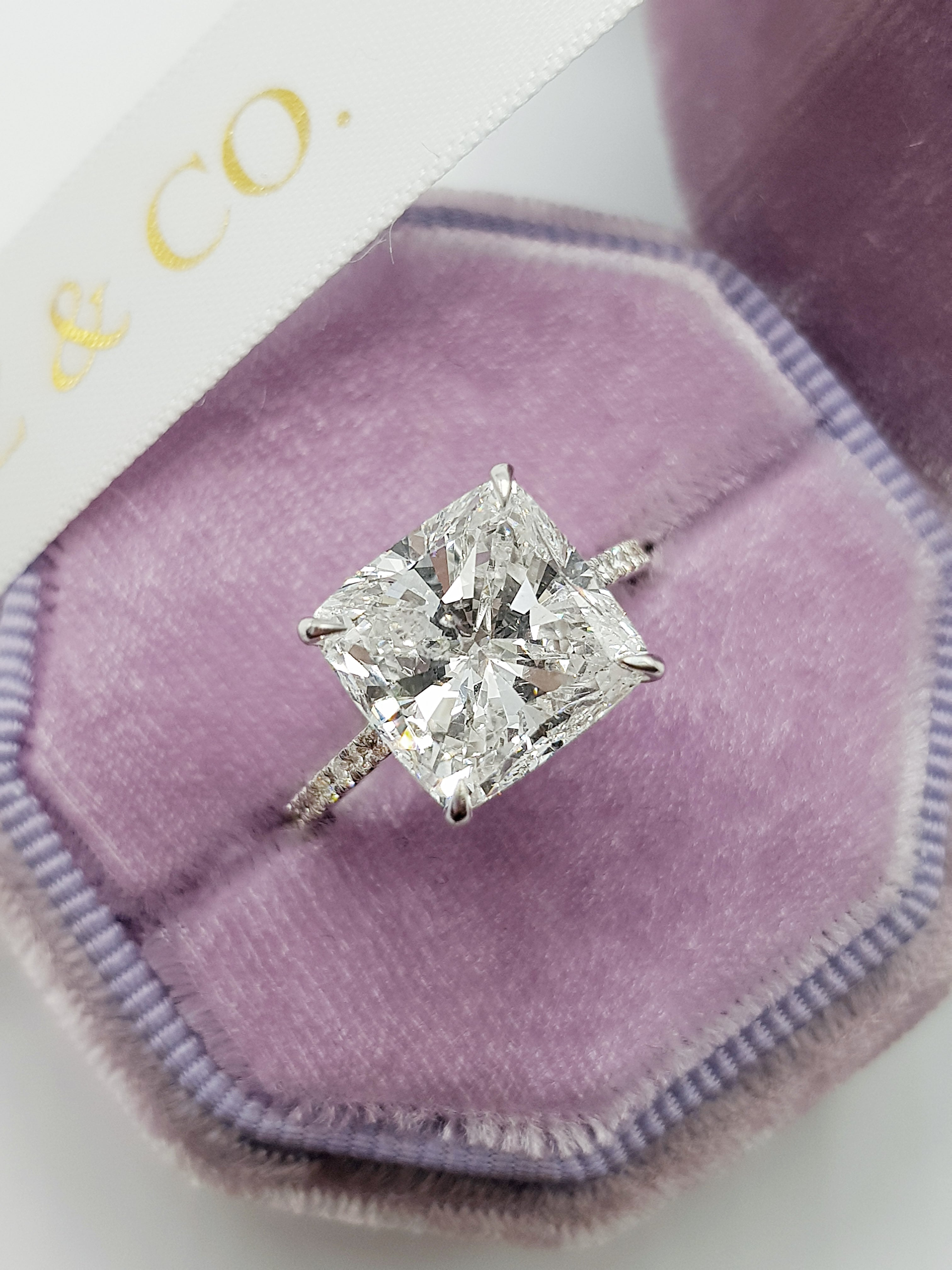 5.52 Carats Cushion Cut Cathedral Diamond Engagement Ring