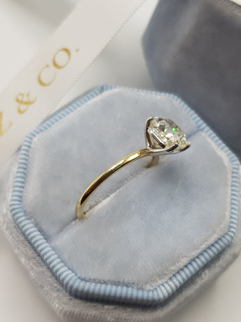 2.05 Carat Cushion Cut Solitaire Two-Tone Diamond Engagement Ring