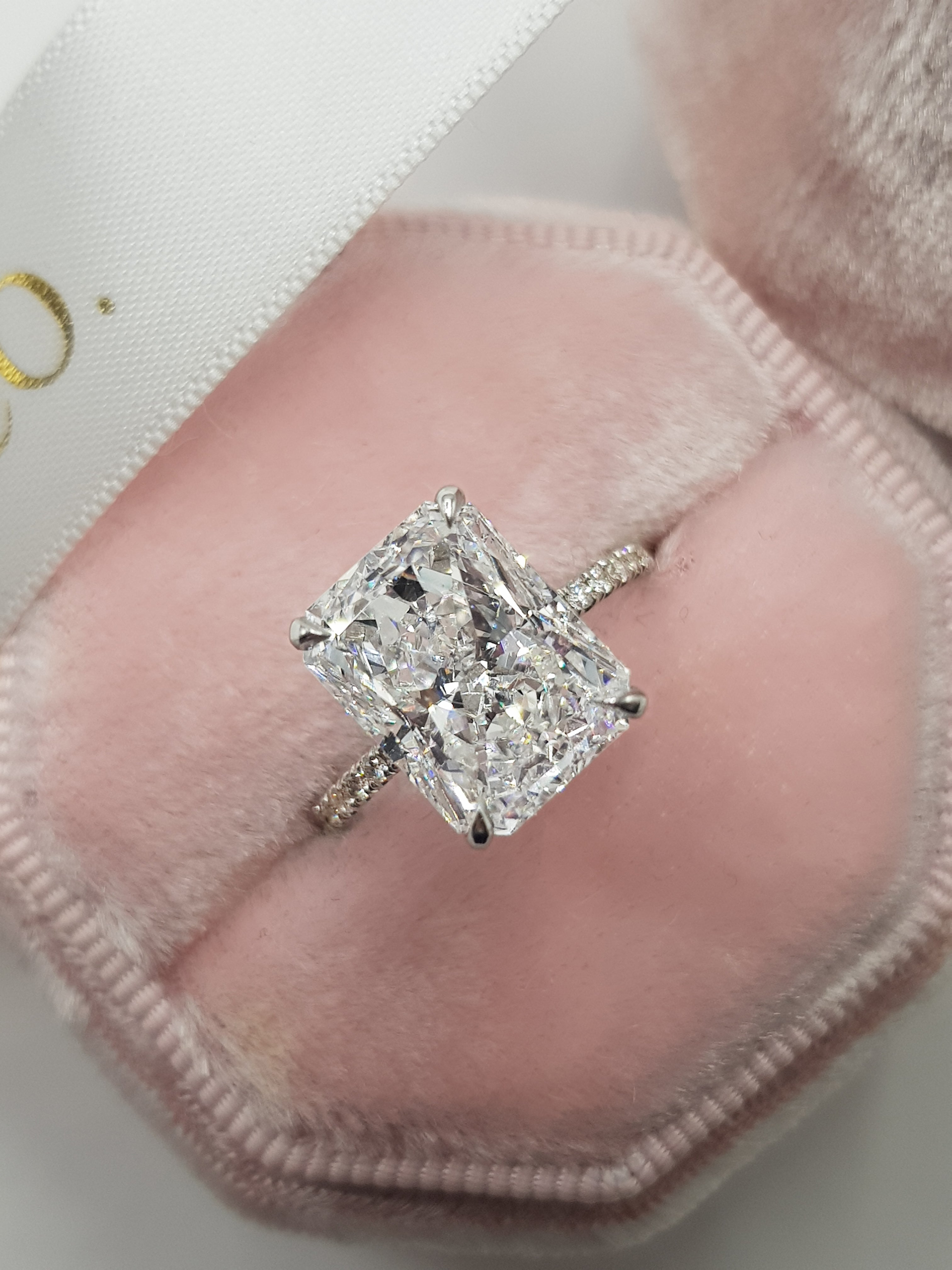 5.55 Carats Radiant Cut Micropaved Side Stones Hidden Halo Diamond Engagement Ring
