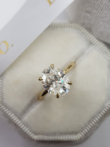 3 Carat Oval Cut Solitaire Diamond Engagement Ring