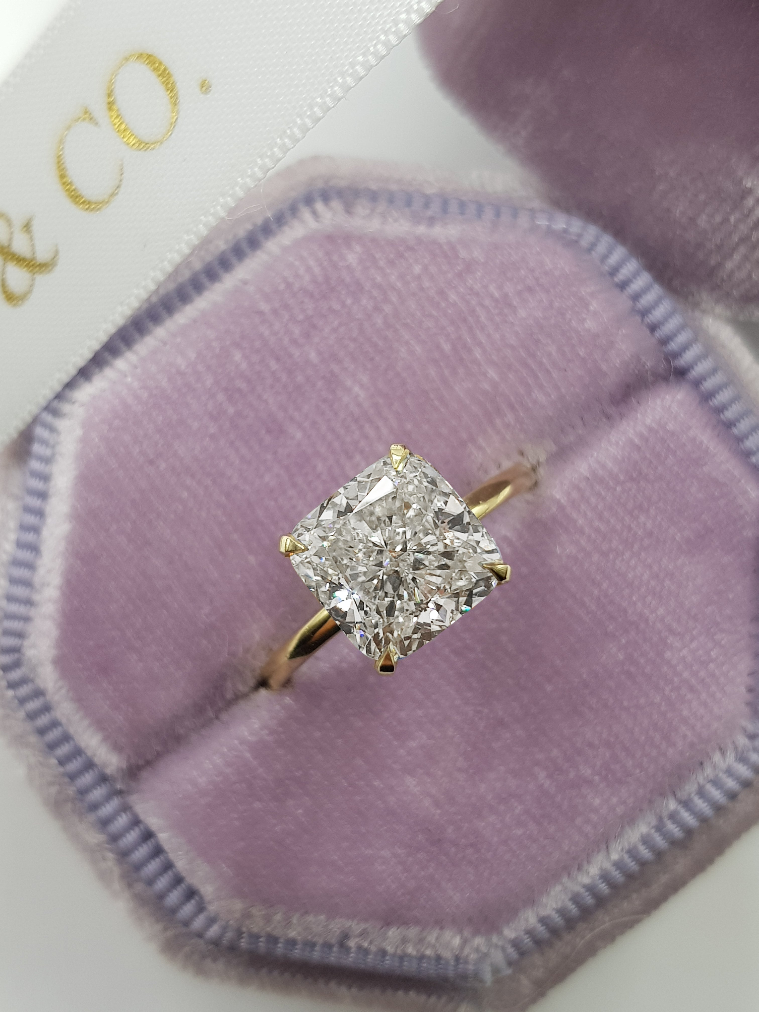 3.31 Carat Cushion Cut Solitaire Diamond Engagement Ring