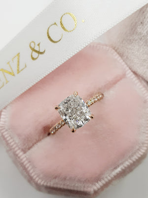 3.01 Carats Elongated Cushion Cut Micropave Side Stones Hidden Halo Diamond Engagement Ring