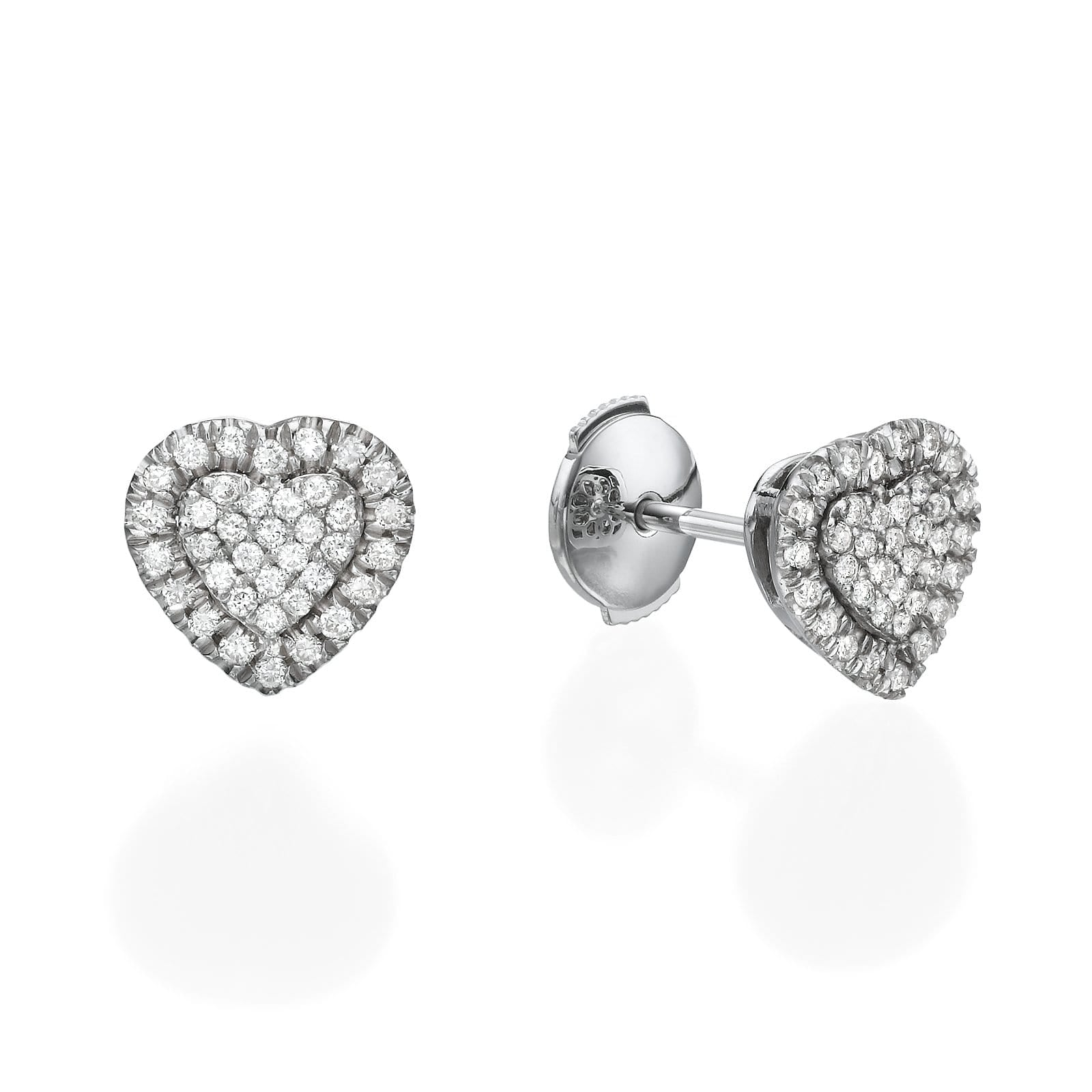 Heart Shaped Diamond Cluster Earrings