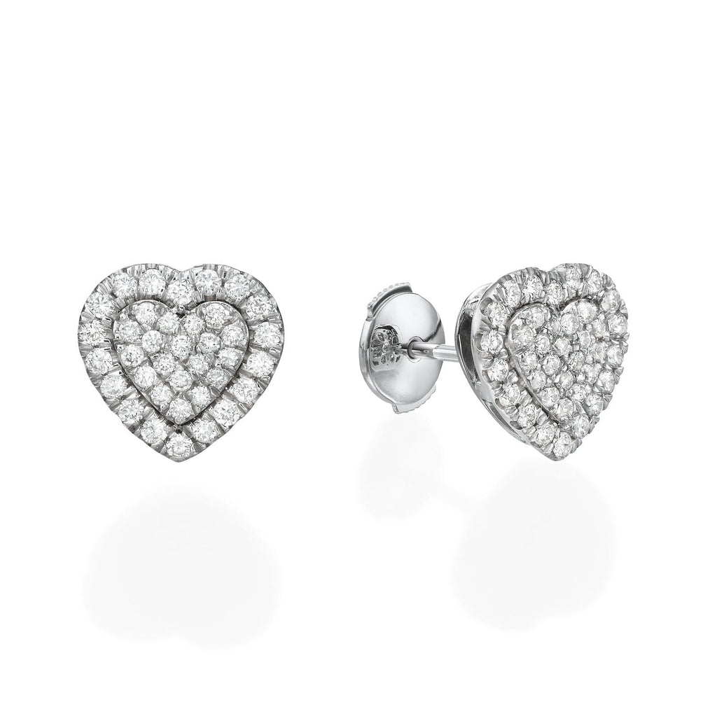 Big Heart Shaped Diamond Cluster Earrings