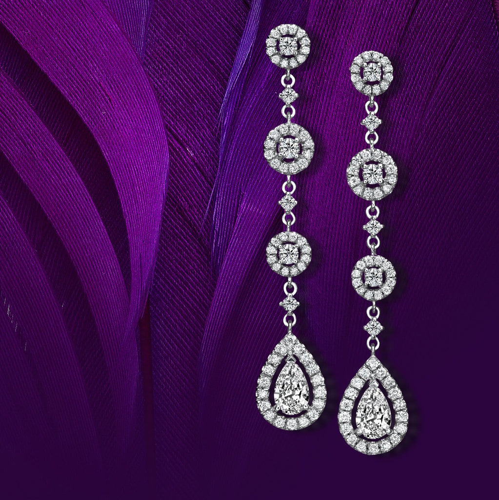 Pearfection 2.01 ct Drop Earrings of Diamonds in 18K White Gold