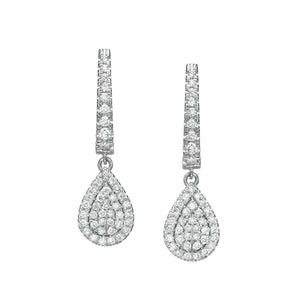 Pear Shaped Diamond Cluster Dangle Earrings