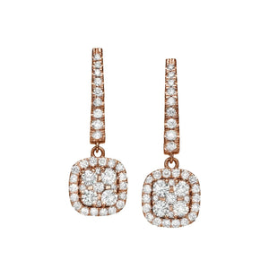 Big Cushion Shaped Diamond Cluster Dangle Earrings