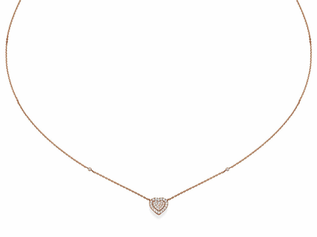 Big Heart Shaped Diamond Cluster Pendant Necklace