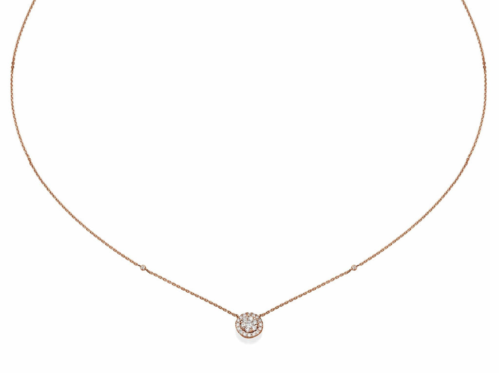 Big Round Shaped Diamond Cluster Pendant Necklace