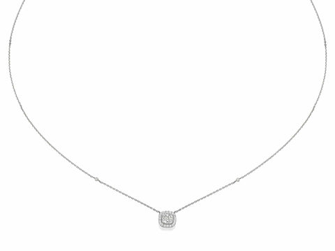 Big Cushion Shaped Diamond Cluster Pendant Necklace