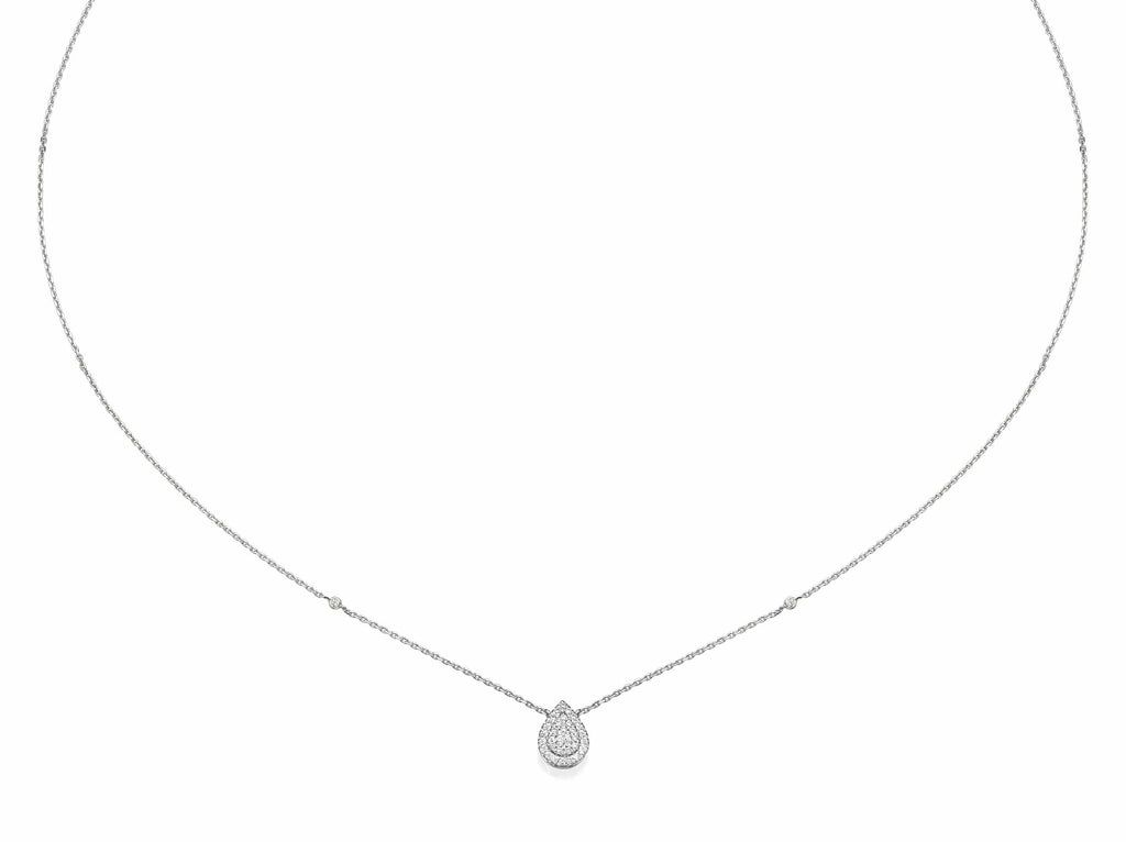 Pear Shaped Diamond Cluster Pendant Necklace