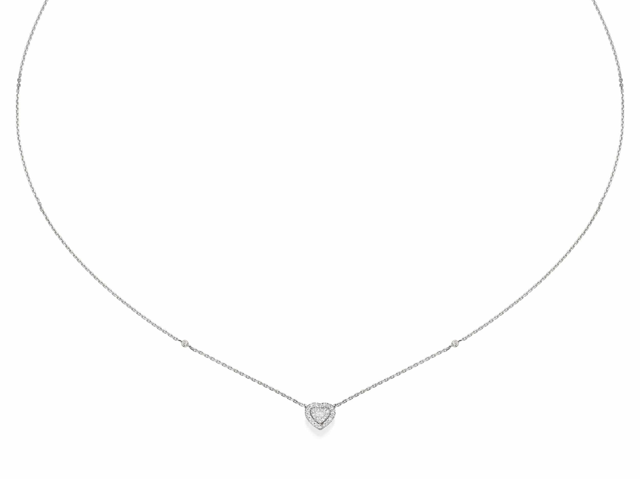 Heart Shaped Diamond Cluster Pendant Necklace