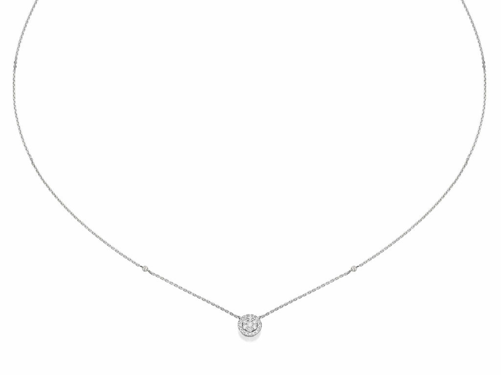 Round Shaped Diamond Cluster Pendant Necklace
