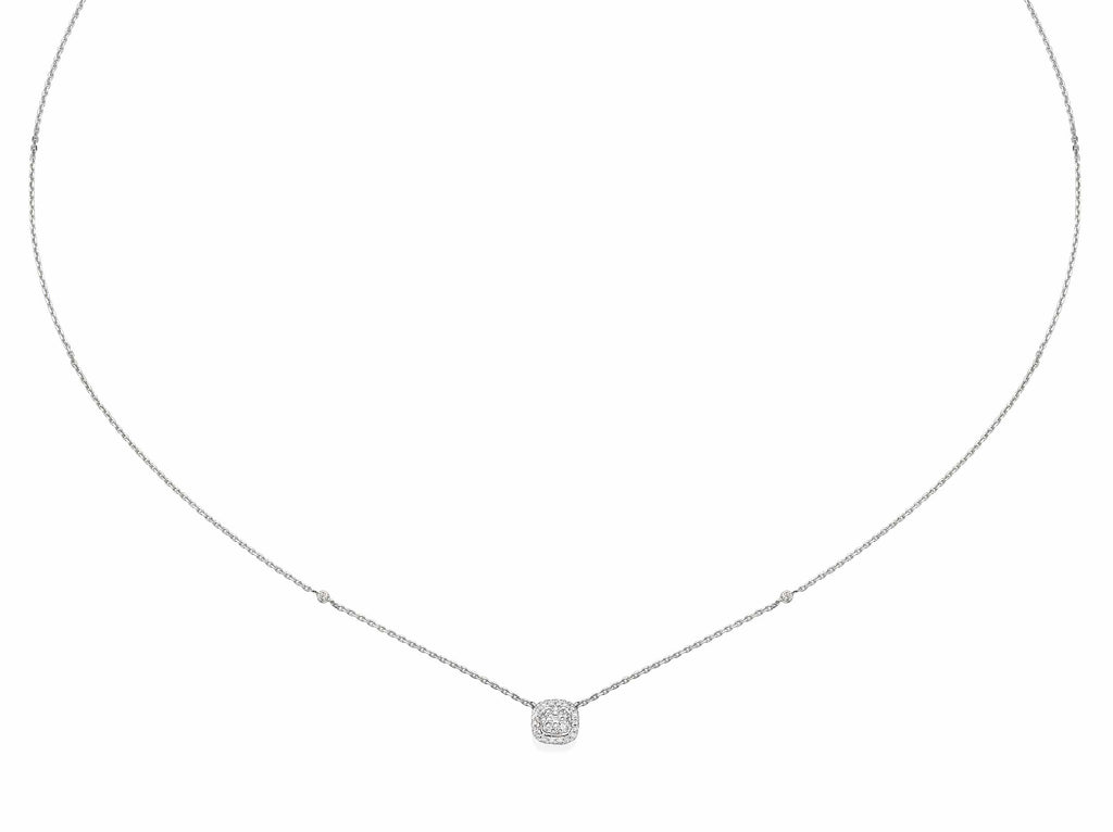 Cushion Shaped Diamond Cluster Pendant Necklace