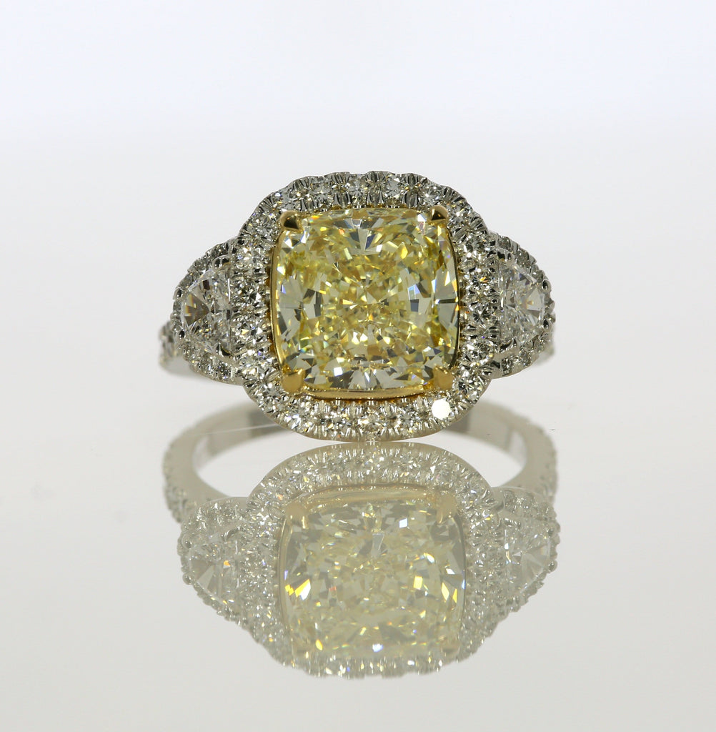 5.25 ct Fancy Yellow Cushion Cut Diamond Engagement Ring