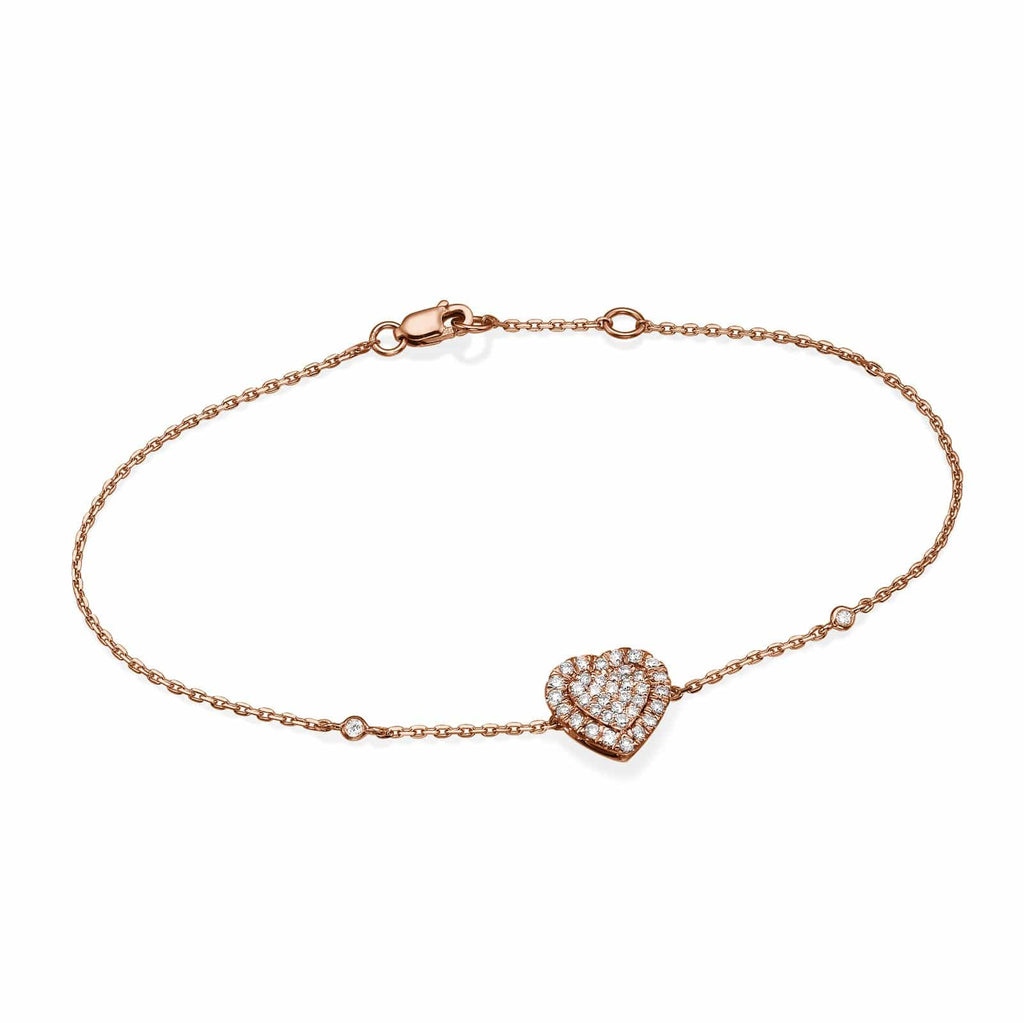 Big Heart Shaped Diamond Cluster Bracelet In 18K Gold