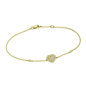 Heart Shaped Diamond Cluster Bracelet In 18K Gold