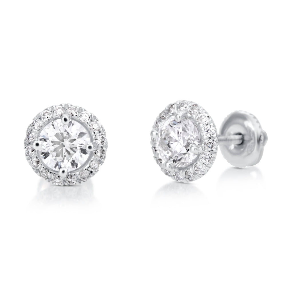 1.40 ct Round Cut Diamond Stud Earrings