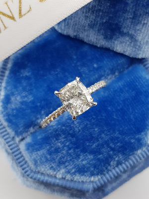 1.55 Carat Cushion Cut Micropave Side Stones Hidden Halo Diamond Engagement Ring