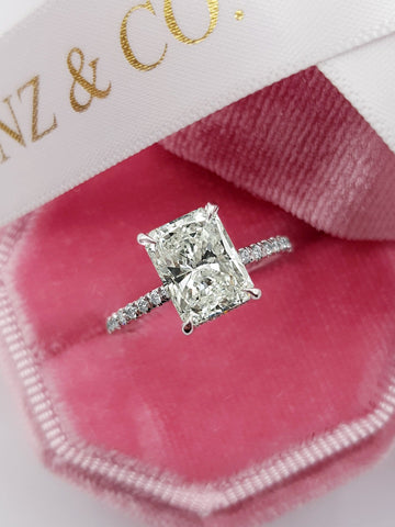 2.50 Carats Radiant Cut Micropaved Side Stones Hidden Halo Diamond Engagement Ring