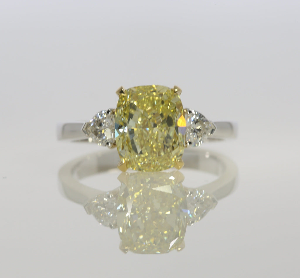 3.42 ct Fancy Yellow Cushion Cut Diamond Engagement Ring