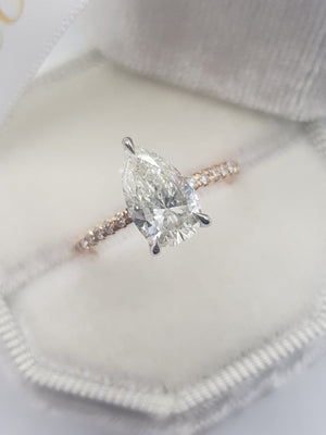 1.75 Carats Pear Shape Two-Tone Micropave Side Stones Diamond Ring