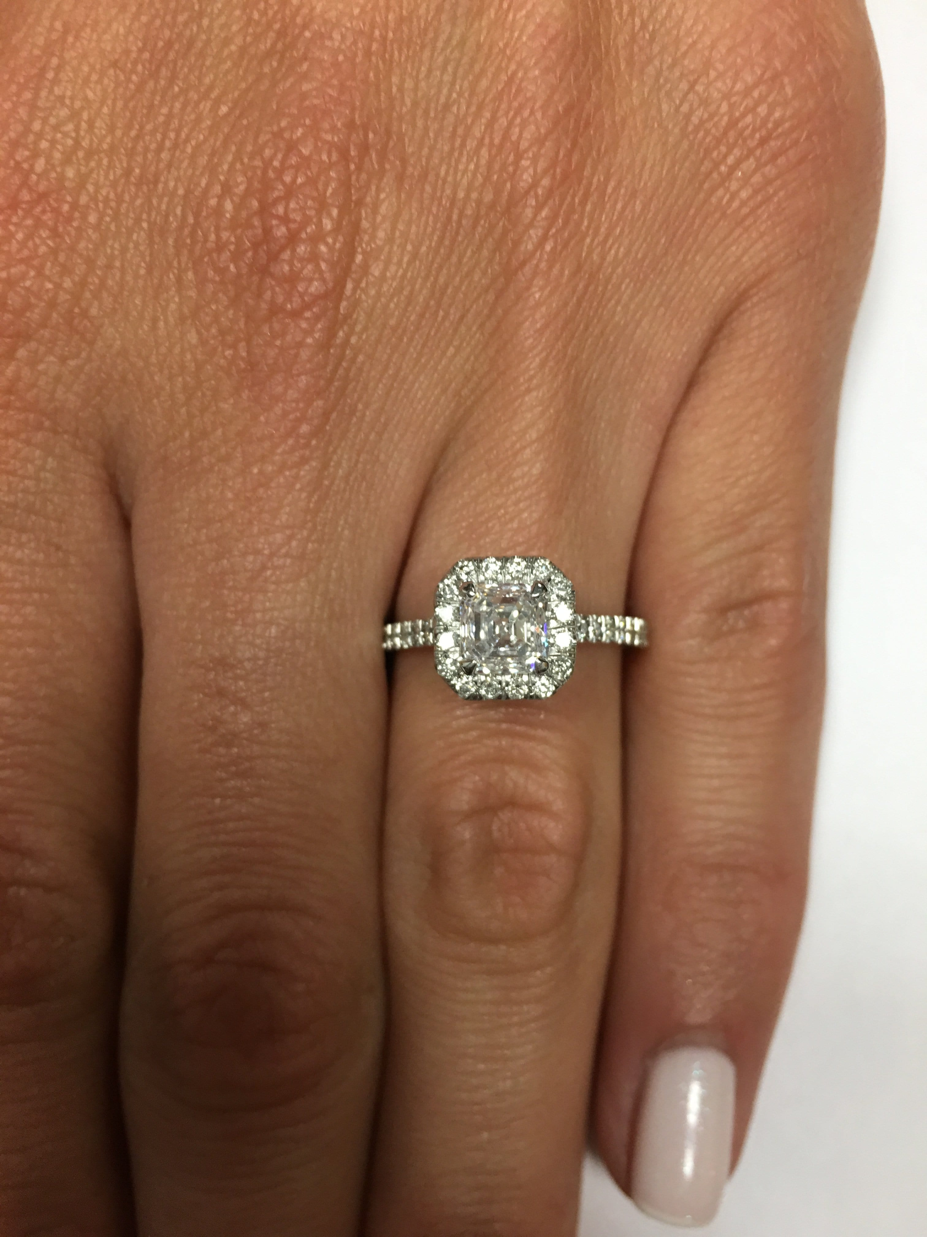 1.45 ct Asscher Cut Diamond Engagement Ring