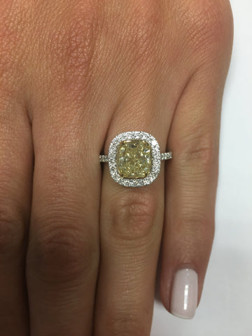 2.71 ct Fancy Yellow Cushion Cut Diamond Engagement Ring