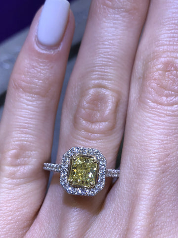 1.37 ct Fancy Yellow Radiant Cut Diamond Engagement Ring