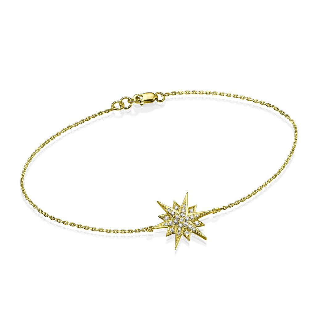 Mid Size Star Diamond Bracelet in 18K Gold