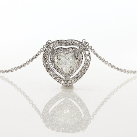 1.35 ct Double Halo Heart Shaped Diamond Pendant Necklace