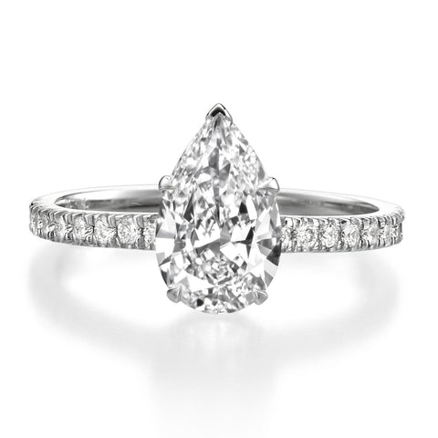1.85 ct Pear Shaped Diamond Engagement Ring