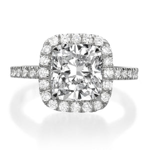 3.86 ct Cushion Cut Diamond Engagement Ring