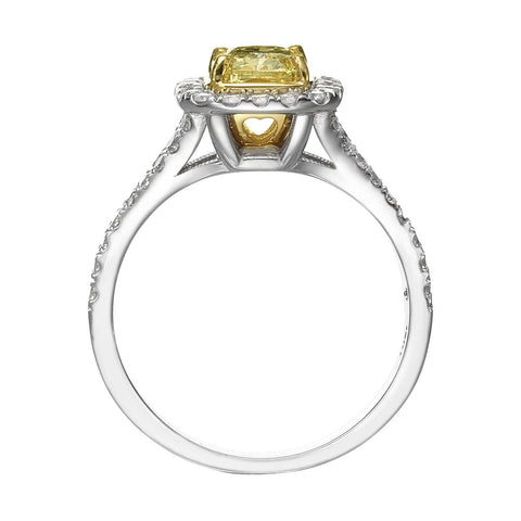 1.56 ct Fancy Yellow Cushion Cut Diamond Engagement Ring