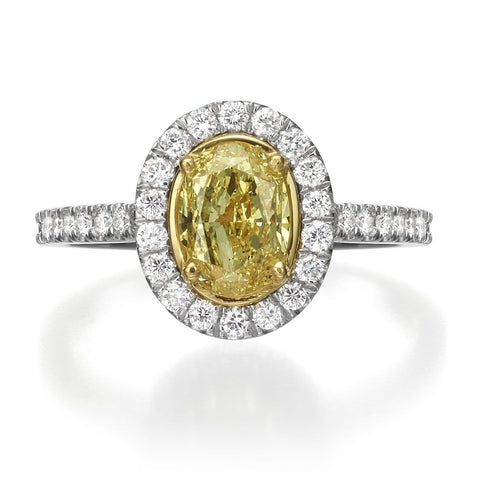 1.55 ct Fancy Yellow Oval Cut Diamond Engagement Ring