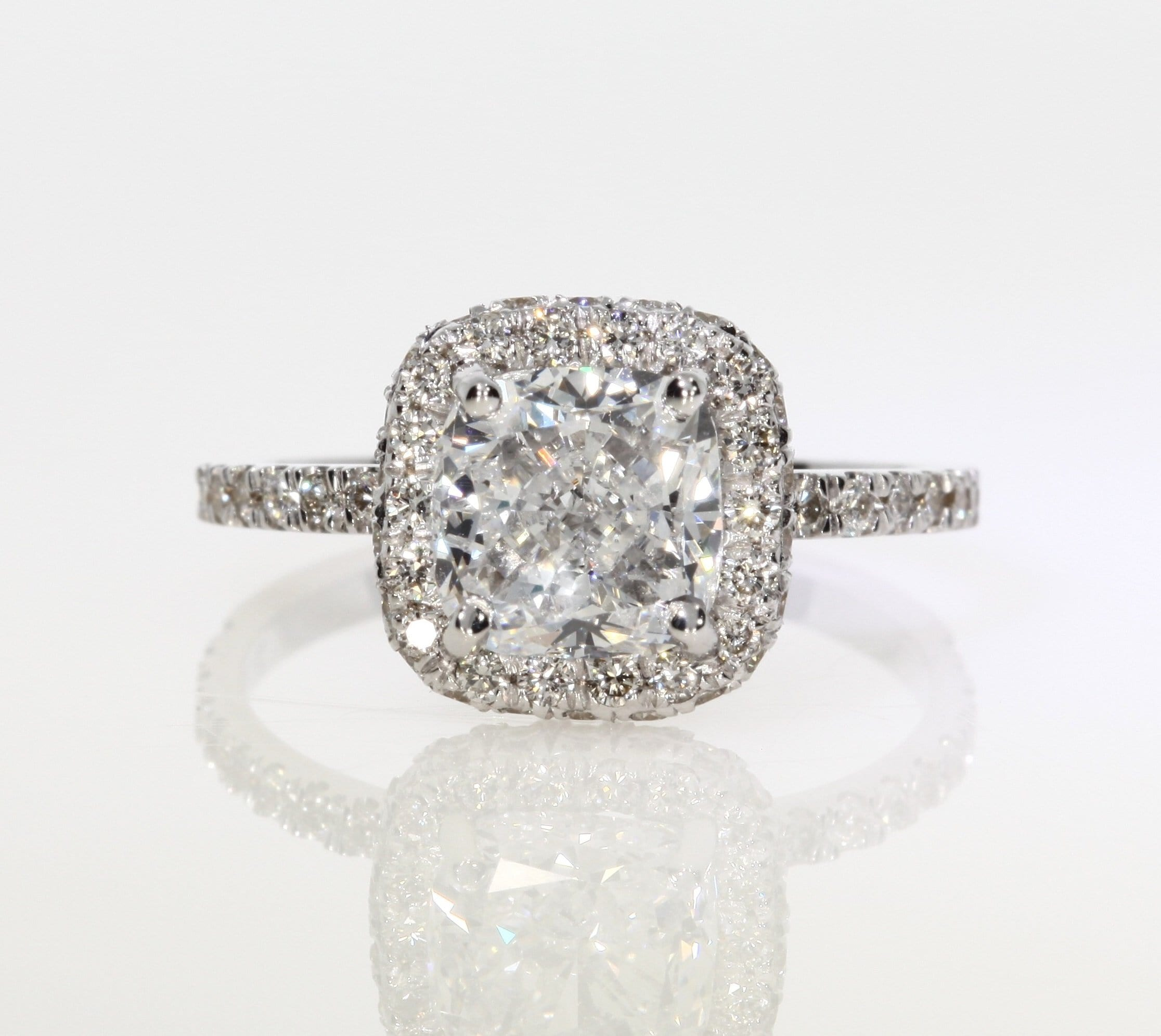 3.03 ct Cushion Cut Diamond Engagement Ring