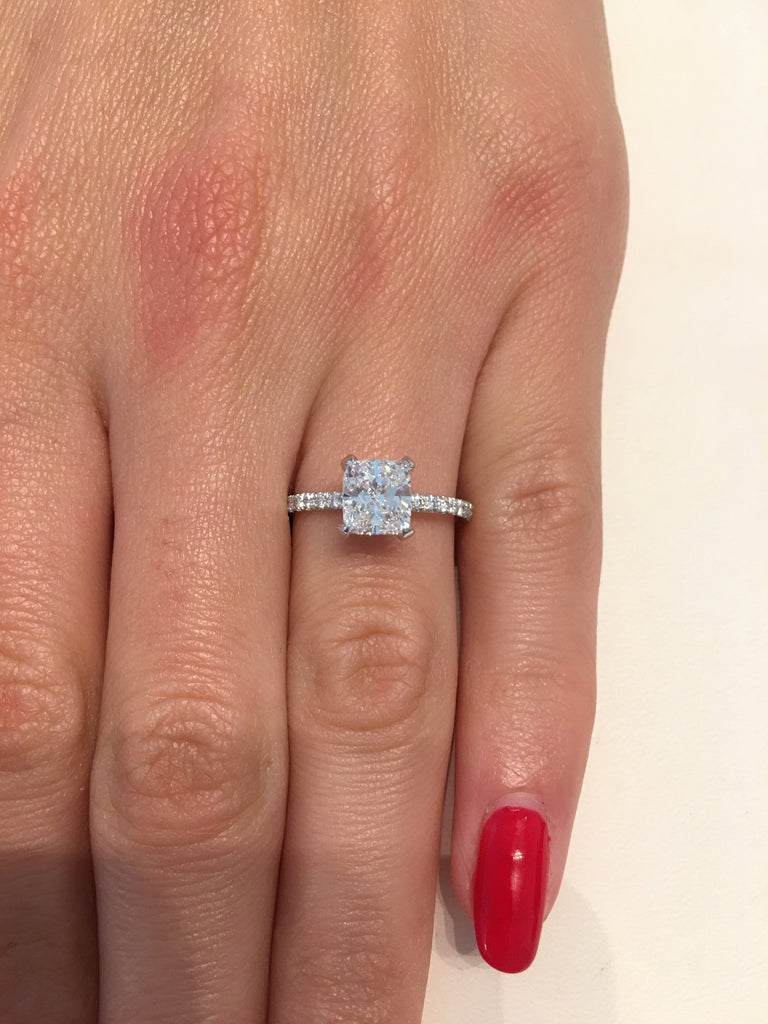 Finest 1.61 ct Cushion Cut Diamond Engagement Ring – BenzDiamonds EF47